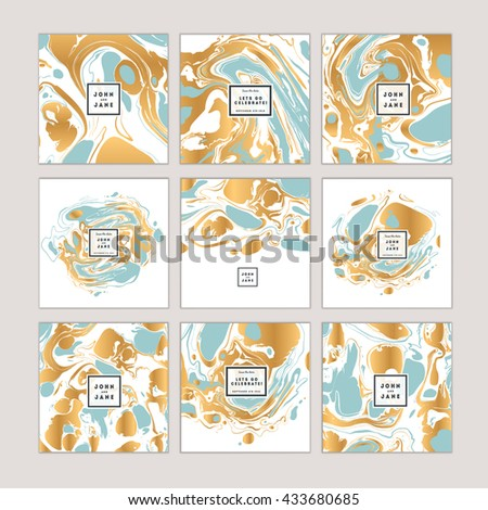 Vector set of watercolor hand drawn marbling illustration, abstract background, ebru print. Template for sail, wedding  (save date), corporate invitation, season sale, valentine, trendy poster.  - stock vector