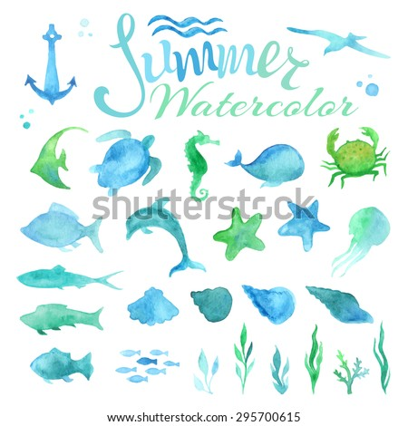 Vector set of watercolor marine life. Various fish, starfish, crab, whale, shell, sea horse, jellyfish, dolphin, turtle, algae, anchor, waves isolated on white background.