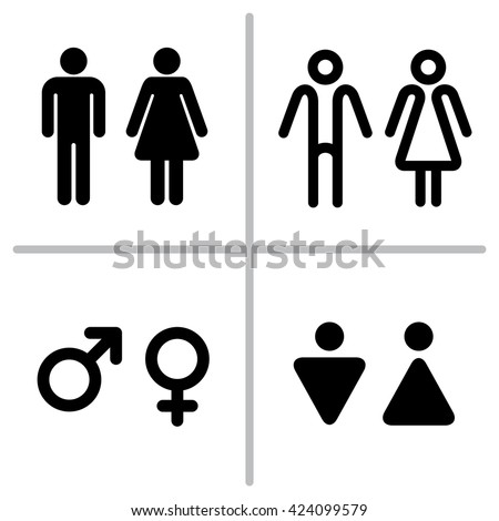 Vector set of WC icons isolated on a white background. Washroom icon. Restroom sign. Gender icon. Male and female sign collection. Gender symbols. Man and woman icon  - stock vector