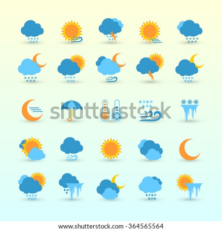 Vector Set Weather Forecast Meteorology Symbols Stock Vector