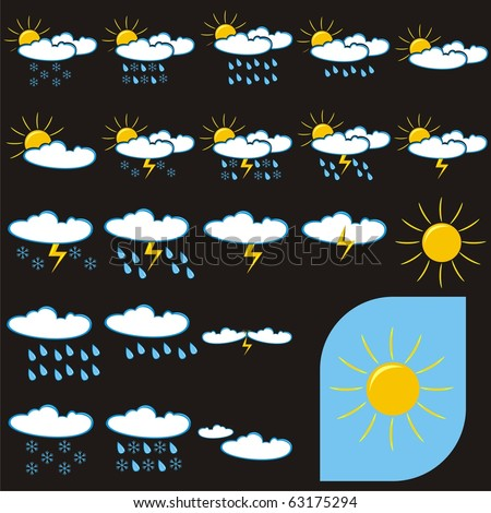 Vector Set Weather Icons Sunny Rainy Stock Vector 63175294
