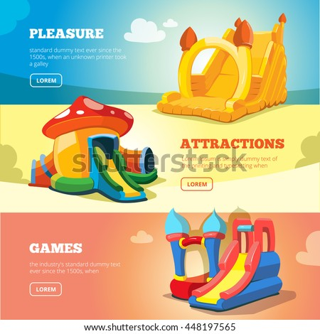 Vector Set of web banners with picture of inflatable castles and children hills on playground. - stock vector