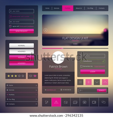 Vector set of web design elements in flat style. Trendy web elements design. UI kit with icons set and modern blurred background. - stock vector
