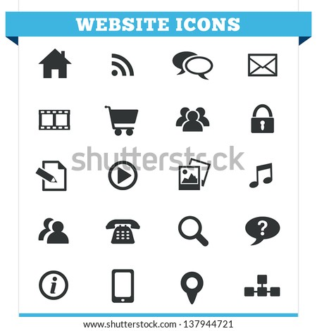 Vector set of website and Internet icons and design elements for blog, forum, online portfolio and web pages. Illustration isolated on white background.