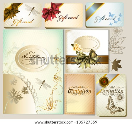Vector set of wedding and greeting cards for design in vintage style - stock vector