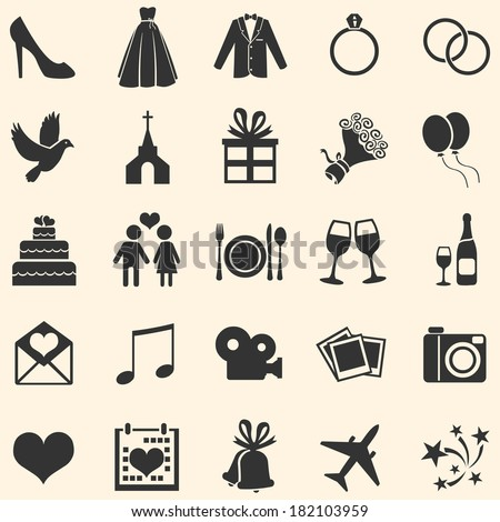 Vector Set of 25  Wedding Icons - stock vector