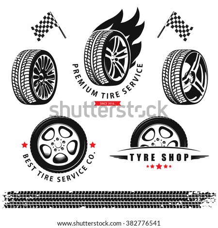 Vector set of wheels, tires and tracks for use in icons and logos - stock vector