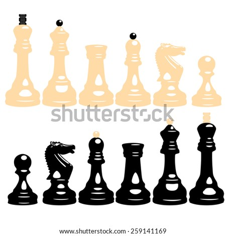 vector set of white and black chess pieces with pawns, knights, bishops, rooks, queens and kings - stock vector