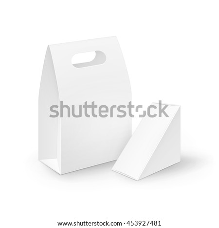 Vector Set of White Blank Cardboard Rectangle Triangle Take Away Handle Lunch Boxes Packaging For Sandwich, Food, Gift, Other Products Mock up Close Isolated on White Background