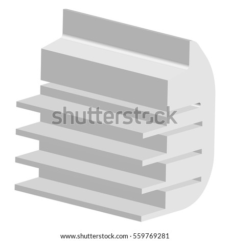Vector Set of White Blank Empty Exhibition Trade Stands Shop Racks with Shelves Storefronts Isolated on Background
