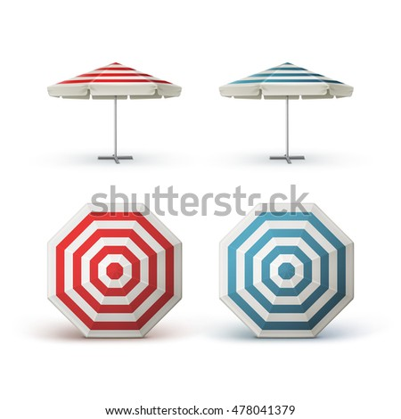 Vector Set Of White Blank Red Blue Striped Patio Outdoor Market Beach Cafe  Bar Pub Restaurant