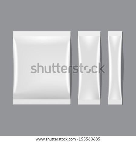 Vector Set of White Blank Sachet Packaging - stock vector