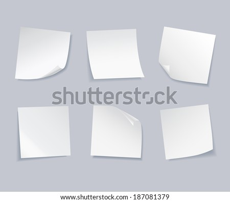 Vector set of white blank sheets of notepaper.