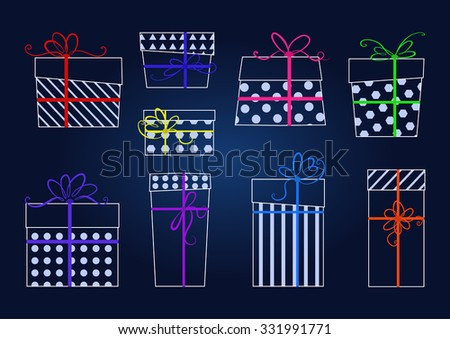 Vector set of white contours gifts with colorful ribbons and bows.