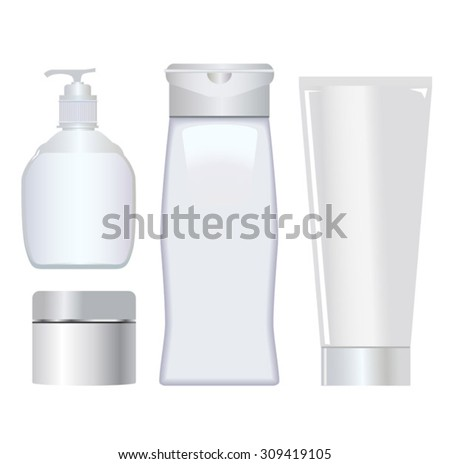 vector set of white cosmetic tubes containers - stock vector
