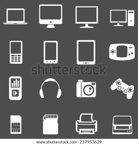 Vector Set of White Digital Devices Icons. Laptop, Monitor, PC, Mobile, Smartphone, Tablet, Game Consol, Audio Player, Headphones, Camera, Joystick, SIM-card, Memory Card, Printer, Scanner. - stock vector