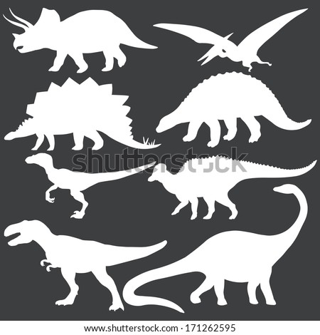 vector set of white dinosaurs silhouettes - stock vector