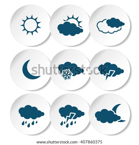Vector set of white rounded stickers with dark blue weather symbols, elements of forecast