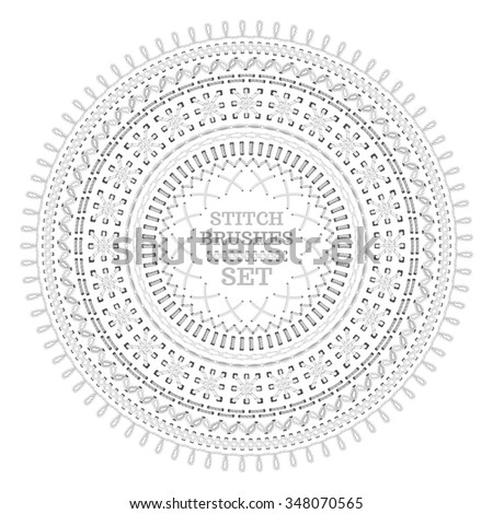 Vector set of white seamless stitch brushes. Circle sewing pattern isolated on white background. All used pattern brushes included. - stock vector