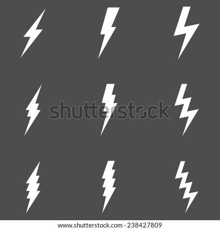Vector Set of White Thunder Lighting Icons - stock vector