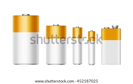 Vector Set of White Yellow Golden Glossy Alkaline Batteries Of Diffrent size AAA, AA, C, D, PP3 and 9 Volt Battery for branding Close up Isolated on White background - stock vector