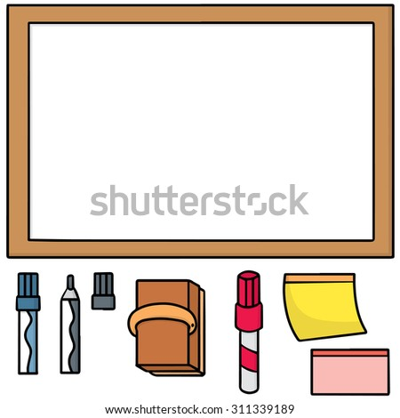 vector set of whiteboard and memo note - stock vector