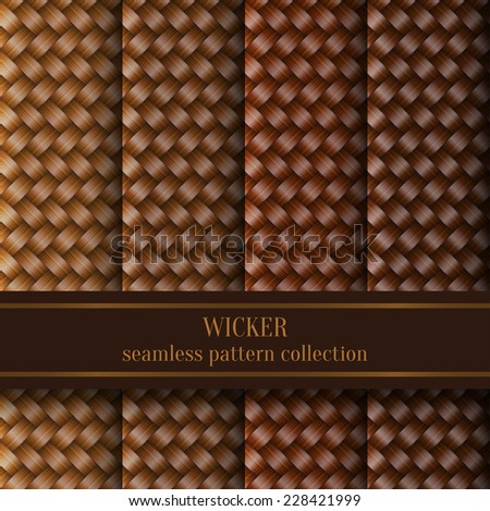 Vector Set of Wicker Texture Background, Seamless Pattern Collection - stock vector