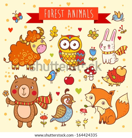 Vector set of  wild animals in the forest: bear, fox, hedgehog, rabbit, owl, bird, yak, quail - stock vector