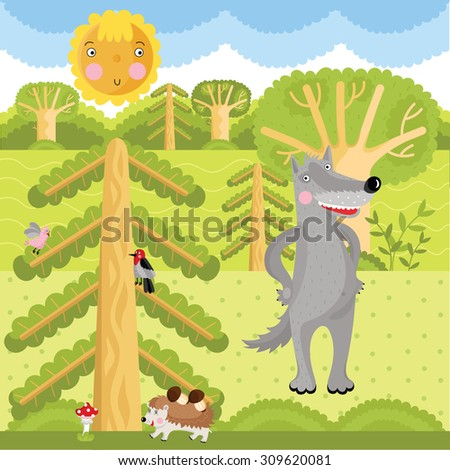 Vector set of wild animals on the forest. - stock vector