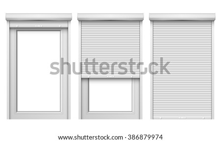 vector set windows rolling shutters stock vector 386879974 shutterstock. Black Bedroom Furniture Sets. Home Design Ideas
