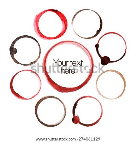 Vector set of Wine and coffee stain circles - stock vector