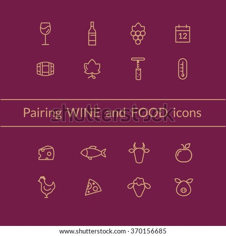 Vector set of wine and food pairing icons like fish, meat, fruits, bottle, glass, grapes. Line style icons. - stock vector