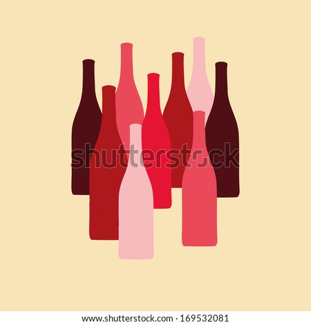vector set of wine bottle silhouettes in red colors