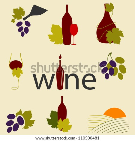 Vector set of wine icons - stock vector