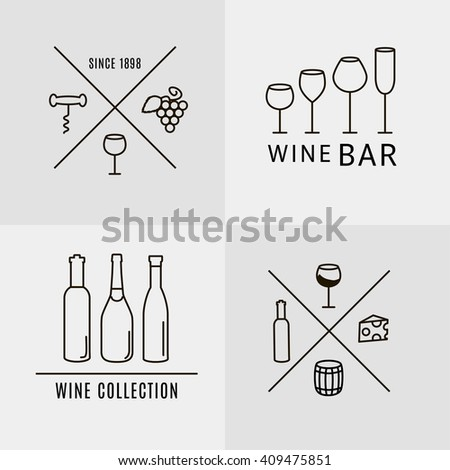 Vector Set of Wine Labels, Badges and Logos. Design Template for wine bar, restaurant, vineyard and wine collection.  - stock vector