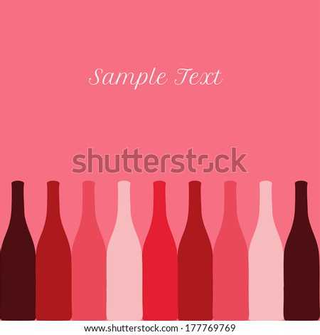 vector set of wine or vinegar bottles silhouettes for restaurant or party menu, invitation card