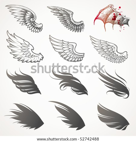 Vector set of wings - stock vector