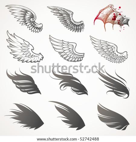 Vector set of wings - stock vector