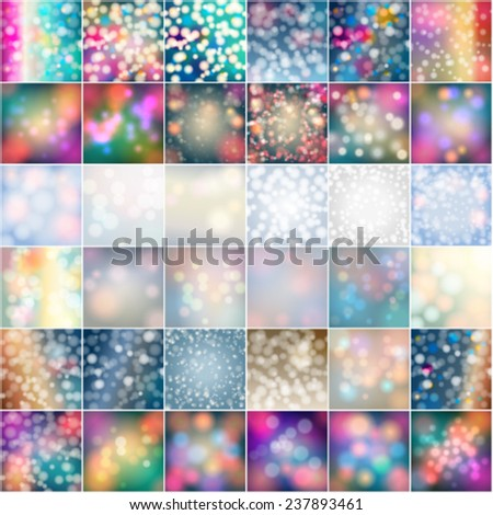 Vector set of 36 winter glittering bokeh lights, soft focus background llustrations - stock vector