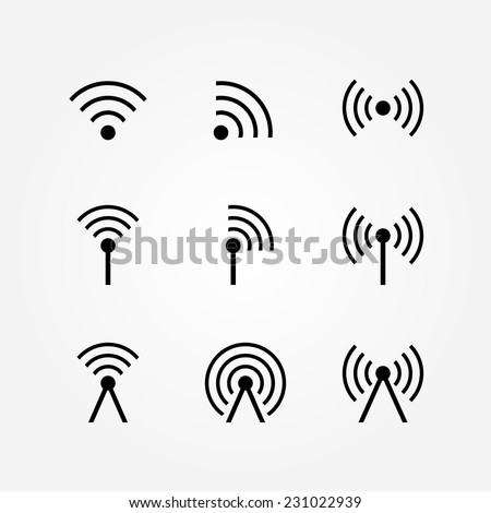 Vector Set of Wireless and Wifi Icons for Remote Access and Communication via Radio Waves - stock vector