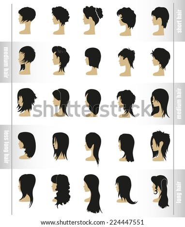 vector set of women's hairstyles and haircuts view profile - stock vector