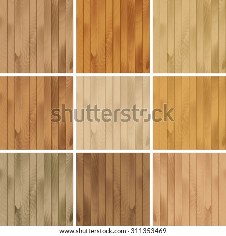 Vector Set of Wooden Seamless Textures Patterns Backgrounds - stock vector