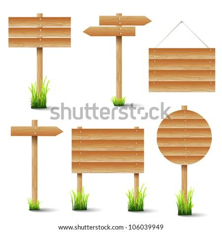 Vector set of wooden signs - stock vector