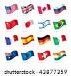 Vector set of world flags: USA, United kingdom, Canada, Russia, Japan, Brazil, Israel, France, Spain, Germany, Italy, Australia, Euro, Switzerland, India - stock photo