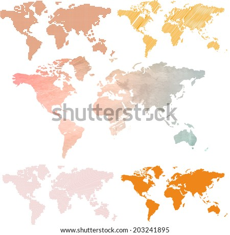 Vector. Set of world maps - stock vector