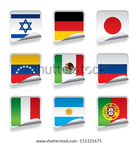 Vector set of world sticker flags  - stock vector