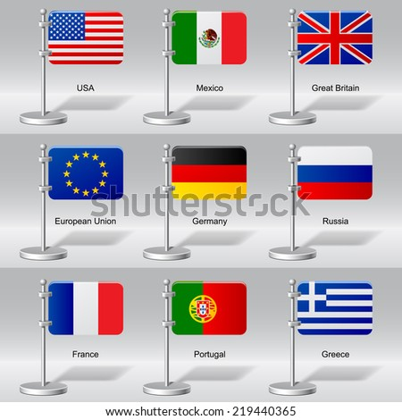 Vector set of world table flags. Version 10. Transparent drop shadow - stock vector