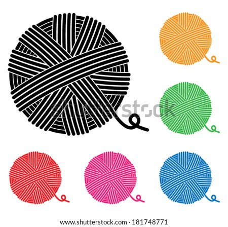 vector set of yarn ball icons - stock vector