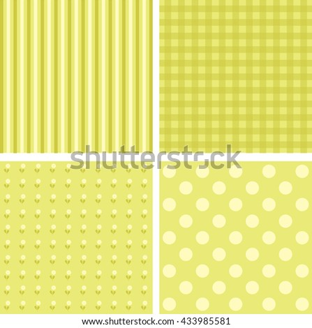 Vector set of 4 yellow background patterns. - stock vector
