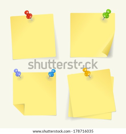 Vector set of yellow sticky Notes with pin - stock vector
